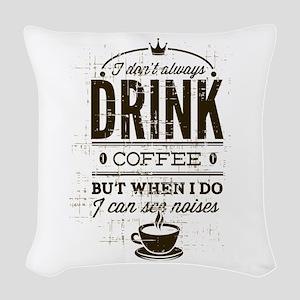 Coffee Noises Woven Throw Pillow