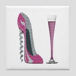 Pink Sparkle Corkscrew Stiletto and Champagne Flut