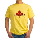 Canada flag Mens Classic Yellow T-Shirts