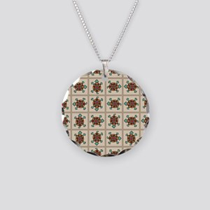 Native american pattern Necklace Circle Charm