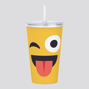 Winky Tongue Emoji Fac Acrylic Double-wall Tumbler