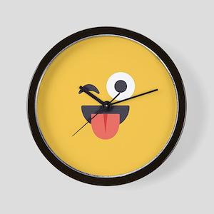 Winky Tongue Emoji Face Wall Clock
