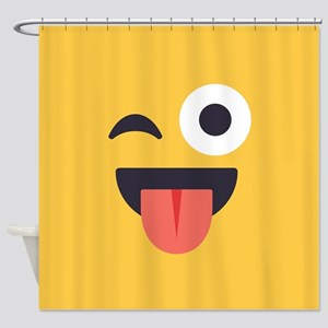 Winky Tongue Emoji Face Shower Curtain