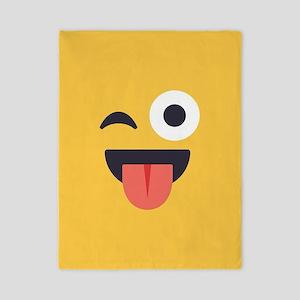 Winky Tongue Emoji Face Twin Duvet Cover