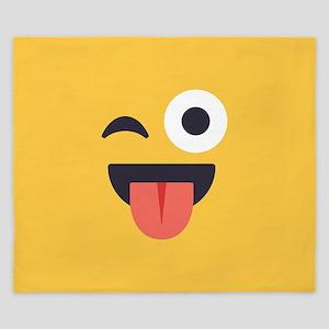 Winky Tongue Emoji Face King Duvet