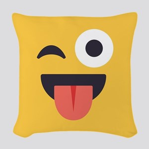 Winky Tongue Emoji Face Woven Throw Pillow