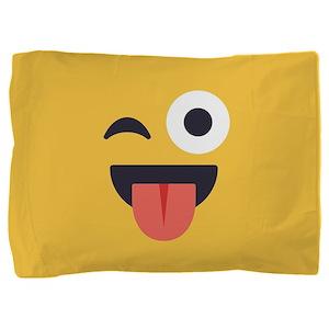 Winky Tongue Emoji Face Pillow Sham