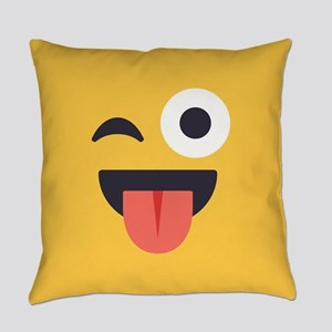Winky Tongue Emoji Face Everyday Pillow