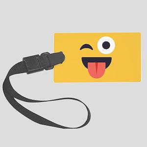 Winky Tongue Emoji Face Large Luggage Tag