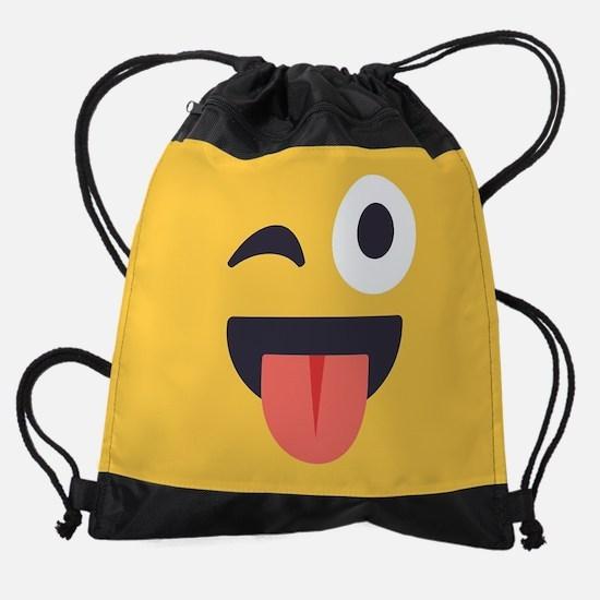 Winky Tongue Emoji Face Drawstring Bag
