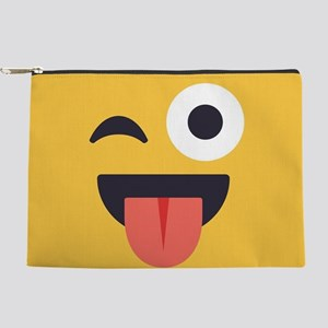Winky Tongue Emoji Face Makeup Pouch