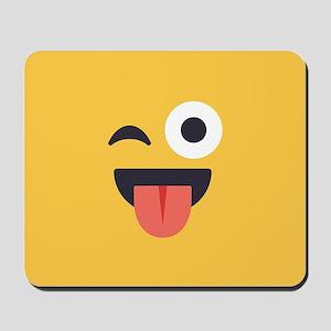 Winky Tongue Emoji Face Mousepad
