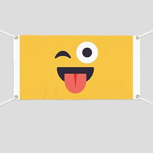 Winky Tongue Emoji Face Banner