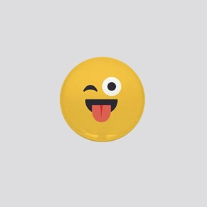 Winky Tongue Emoji Face Mini Button