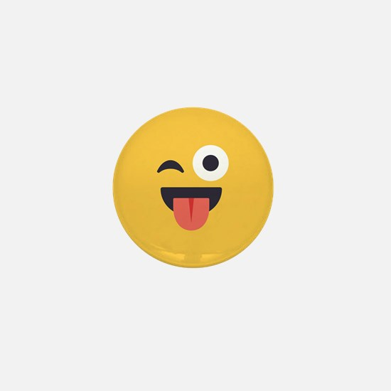 Winky Tongue Emoji Face Mini Button