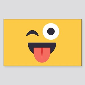 Winky Tongue Emoji Face Sticker (Rectangle)