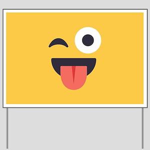 Winky Tongue Emoji Face Yard Sign