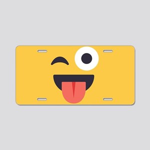 Winky Tongue Emoji Face Aluminum License Plate