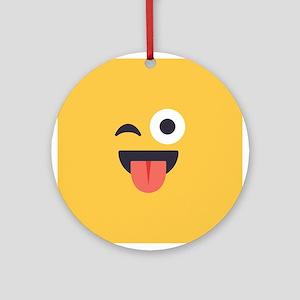 Winky Tongue Emoji Face Round Ornament