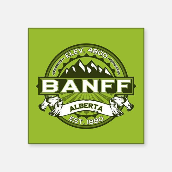 "Banff Green Square Sticker 3"" x 3"""