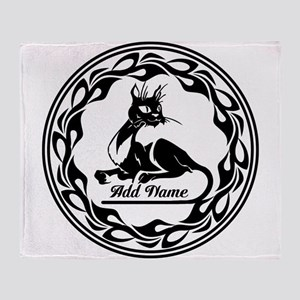 Cute Personalized Cat Art Deco Style Throw Blanket