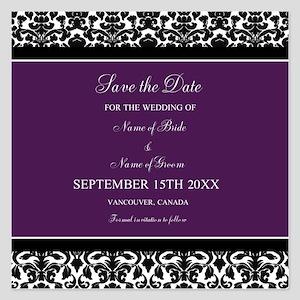 Purple Black Damask Wedding 5.25 x 5.25 Flat Cards