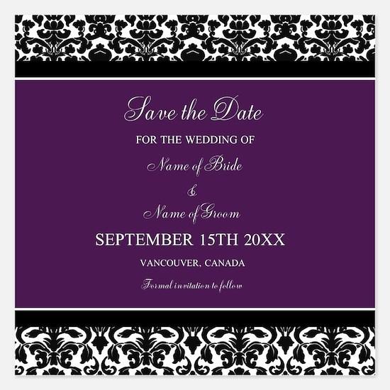 Purple Black Damask Wedding Invitations