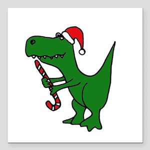 "T-rex Dinosaur in Santa Hat Square Car Magnet 3"" x"