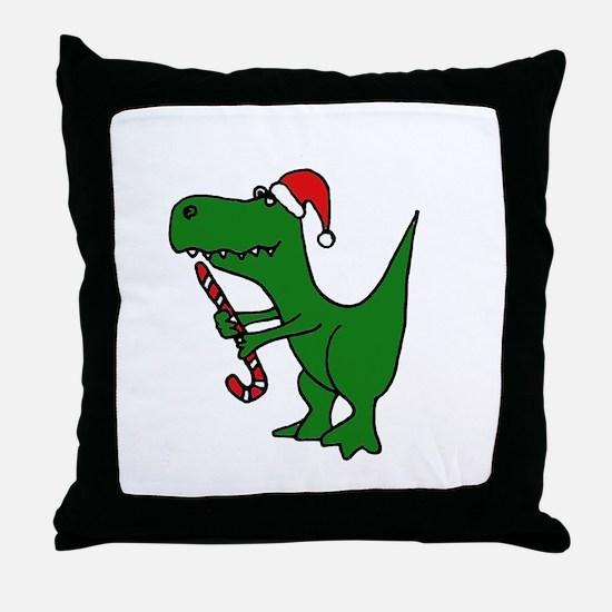T-rex Dinosaur in Santa Hat Throw Pillow
