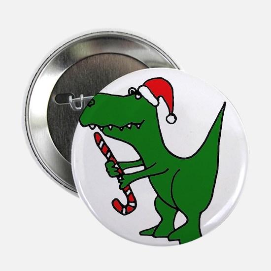 """T-rex Dinosaur in Santa Hat 2.25"""" Button"""