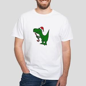 T-rex Dinosaur in Santa Hat T-Shirt