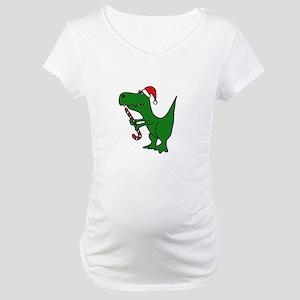 T-rex Dinosaur in Santa Hat Maternity T-Shirt