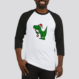 T-rex Dinosaur in Santa Hat Baseball Jersey
