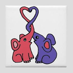 Elephant Love Cartoon Tile Coaster