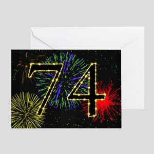 74th birthday with fireworks Greeting Card