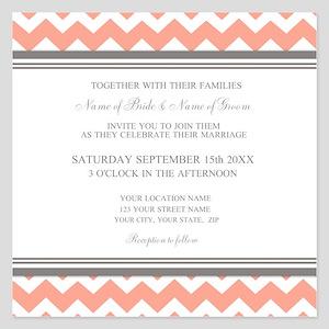 coral chevron invitations and announcements cafepress