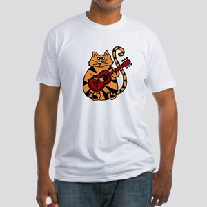 Tiger Cat Playing Red Guitar T-Shirt