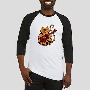 Tiger Cat Playing Red Guitar Baseball Jersey