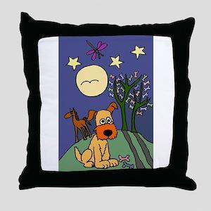 Dog and Horse Folk Art Throw Pillow