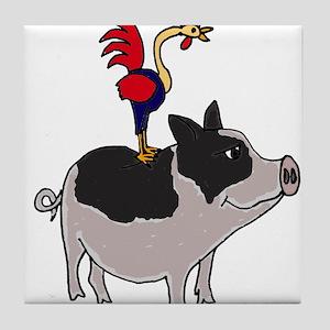 Rooster Sitting on Pig Tile Coaster