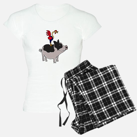 Rooster Sitting on Pig Pajamas