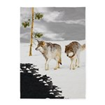 Wolves in Snow 5'x7'Area Rug