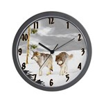 Wolves in Snow Wall Clock