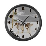 Wolves in Snow Large Wall Clock