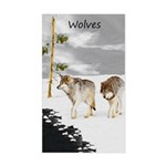 Wolves in Snow Sticker (Rectangle)