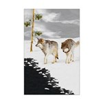 Wolves in Snow Mini Poster Print