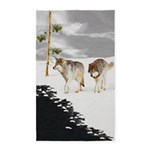 Wolves in Snow Area Rug