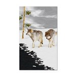 Wolves in Snow Rectangle Car Magnet