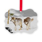 Wolves in Snow Picture Ornament