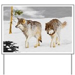 Wolves in Snow Yard Sign